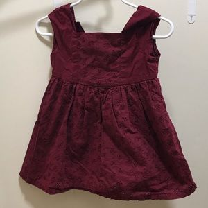 Sweet maroon dress with eyelet detail 18m
